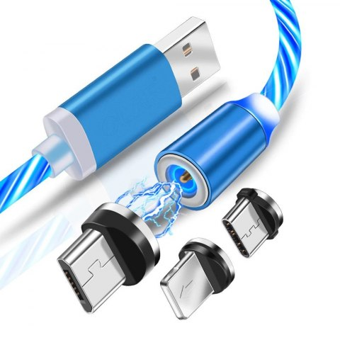 Kabel Magnetyczny 3w1 świecący Iphone Micro USB C